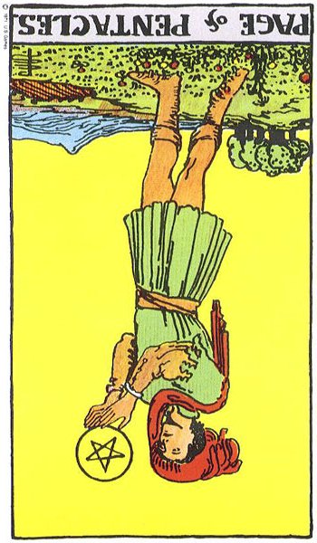 Page of Pentacles, reversed